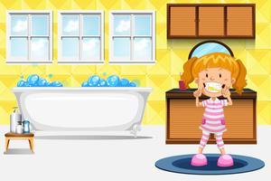 Um, menina, dentes escovando vetor