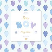 É um menino. Modelo de chuveiro de bebê. Padrão sem emenda incluído com balões azuis e violetas.