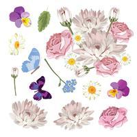 Ajuste a coleção de flores diferentes isolada no fundo branco. Ilustração vetorial vetor