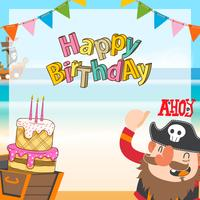 piratas bonitos dos desenhos animados fundo de aniversário