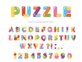 Fonte de quebra-cabeça. Letras e números criativos coloridos de ABC. vetor