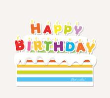 Bolo de aniversário com velas. Etiqueta de recorte de papel. vetor