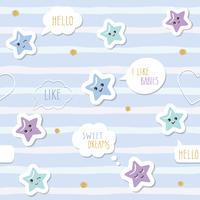 Bonito sem costura de fundo com estrelas de kawaii dos desenhos animados e bolhas do discurso. Para meninos roupas de bebês, pijamas, design de chá de bebê. Pastel azul e glitter. vetor