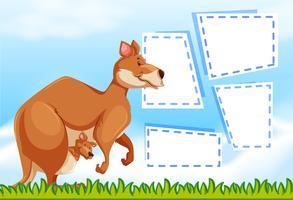 Um canguru no modelo de nota vetor