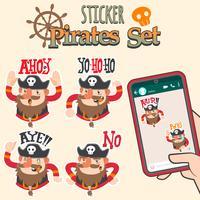 conjunto de adesivos de piratas bonito dos desenhos animados vetor