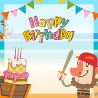 piratas bonitos dos desenhos animados fundo de aniversário vetor