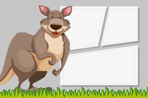 Canguru no modelo de nota vetor