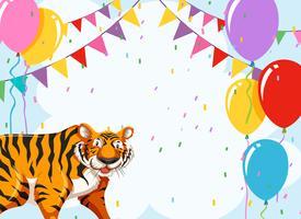 Tigre no modelo de festa vetor