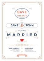 Modelo de cartão de convite de casamento vintage vetor