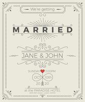 Cartão de convite de casamento do vintage vetor