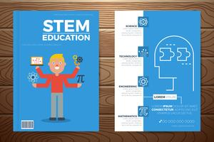 Capa de livro de educação de haste e modelo de panfleto