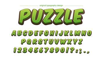 Design de tipografia verde dos desenhos animados vetor