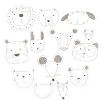 Animais fofos de desenho animado muitos um destaque.Ilustração vetorial de rostos de animais