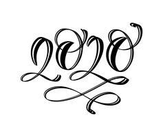 Mão desenhada vector rotulação caligrafia preto número texto 2020. Cartão de feliz ano novo. Projeto de ilustração de Natal vintage