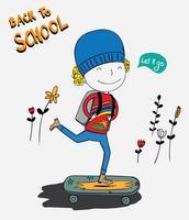 O menino estava andando de skate e o menino ficou muito feliz de ir para a escola no primeiro dia