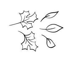 Coleção do vetor das folhas de outono tiradas mão. Objetos de esboço preto e branco isolado, elementos de desenho lindo outono