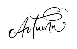 Texto da caligrafia da rotulação do outono isolado no fundo branco. Mão desenhada ilustração vetorial. Elementos de design de cartaz preto e branco