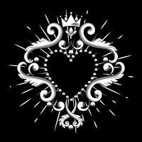 Coração decorativo bonito com a coroa na cor branca isolada no fundo preto. Ilustração vetorial