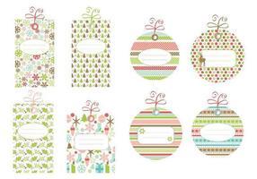 Pacote vetorial com etiquetas de Natal com padrões vetor