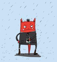 Ele correu para o escritório de trabalho Mas não foi por causa da chuva forte vetor