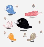 Um conjunto de pássaros está no álbum. Pássaro bonito no tema vector