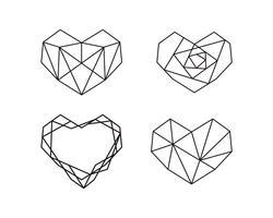 Coleção de formas geométricas do coração. Conjunto de logotipos de coração em vetor. Coração logotipo símbolo e ícones dia dos namorados