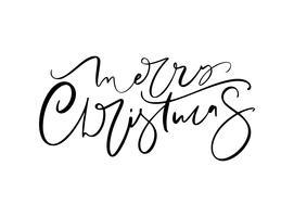 Feliz Natal mão lettering desenhado. Caligrafia do Xmas da ilustração do vetor no fundo branco. Elemento caligráfico isolado para banner, cartão postal, design de cartaz cartão