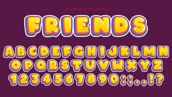 Design de tipografia de bolha amarela em negrito vetor