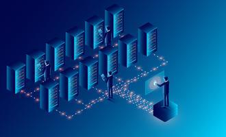 Tecnologia de armazenamento em nuvem de sala de servidores de data center vetor