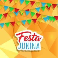 Fundo de Festa Junina com banners no design baixo poli vetor