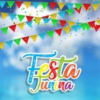 Fundo Festa Junina com céu defocussed vetor