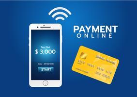 Conceito de pagamento móvel, Smartphone com processamento de pagamentos móveis de cartão de crédito. Ilustração vetorial