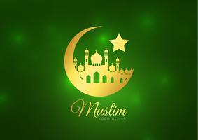 Cartão islâmico no fundo verde. Ilustração vetorial Ramadan Kareem