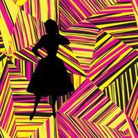 Silhueta de menina moda sobre padrão sem emenda de linha geométrica abstrata