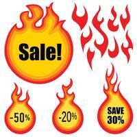 Conjunto de vetores de rótulo de venda. Adesivos de preço quente