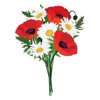 Quadro floral de buquê de flores. Fundo de cartão de verão