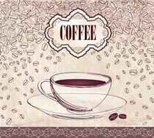 Bebida quente de café. Fundo do cartão de café. Padrão retro de grãos de café.