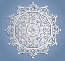 Decoração de renda branca de vetor, redondo doily Landim, ornamento de círculo de papel de recorte