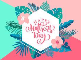 Mão feliz do dia de mães que rotula o coração do texto com flores bonitas. Cartão de saudação de ilustração vetorial. Bom para o cartão, cartaz ou banner, ícone de cartão postal de convite