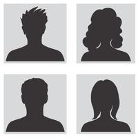 Conjunto de avatar. Silhuetas de perfil de pessoas vetor