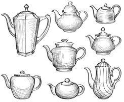 Chaleiras de chá definido. Coleção desenhada de bules. Esboço de pote de café. vetor