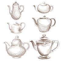 Chaleiras de chá definido. Coleção desenhada de bules. Esboço de pote de café.