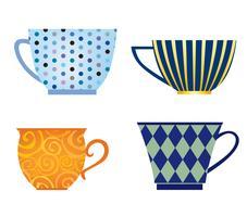 Conjunto de taça. Ícone de coffee-break. Coleção à moda da caneca do chá isolada no branco.