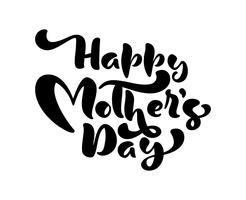Feliz dia das mães rosa vetor caligrafia mão desenhada texto. Frase de letras modernas. Melhor mãe já ilustração. Para o copo, t-shirt, design de cartaz