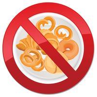 Ícone livre de glúten. Nenhum sinal de pão. Ban símbolo de alimentos de alto teor calórico vetor