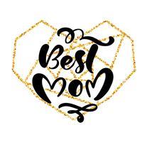 Melhor mão de mãe lettering texto no quadro do coração de ouro geométrico no dia das mães. Ilustração vetorial Bom para o cartão, cartaz ou banner, ícone de cartão postal de convite