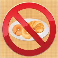 Ícone livre de glúten. Nenhum sinal de pão. Ban símbolo de alimentos de alto teor calórico