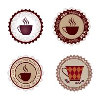 Conjunto de taça. Ícone de coffee-break. Bandeira de selo de sinal de café Rero. Bebidas