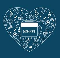 doar, caridade para médicos e saúde em vetor de forma de coração