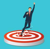 empresário quebrar o tiro com arco alvo para vetor bem sucedido. Ilustração do conceito de negócio